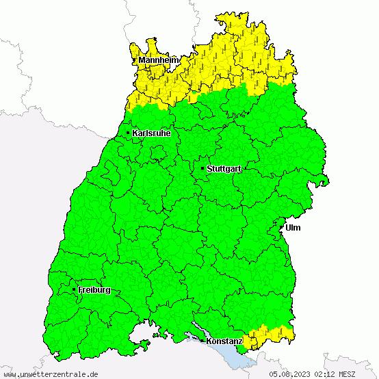 Aktuelle Unwetterwarnungen für Baden Württemberg
