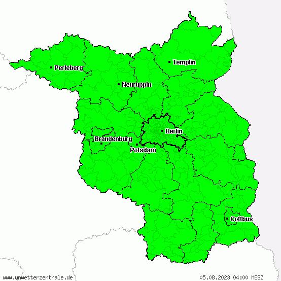 Aktuelle Unwetterwarnungen für Brandenburg