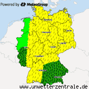 Aktuelle Unwetterwarnungen f&uuml;r Deutschland