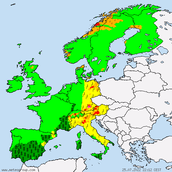 Active weather warnings for Europe