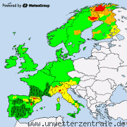 Weather warnings for Europe
