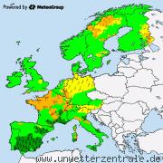 Aktuelle Unwetterwarnungen f�r Europa