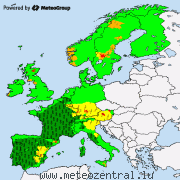 Severe weather warnings for Europe