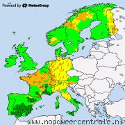 Actuele waarschuwingen voor noodweer in Europa