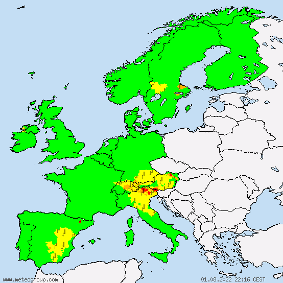 Europe - Warnings for thunderstorms