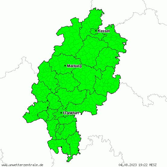 Aktuelle Unwetterwarnungen für Hessen