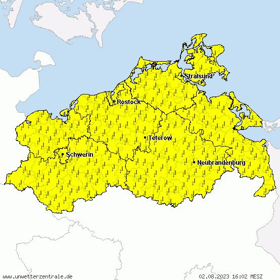 Aktuelle Unwetterwarnungen für Mecklenburg-Vorpommern