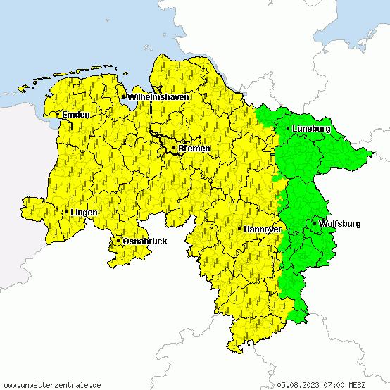 Aktuelle Unwetterwarnungen für Niedersachsen