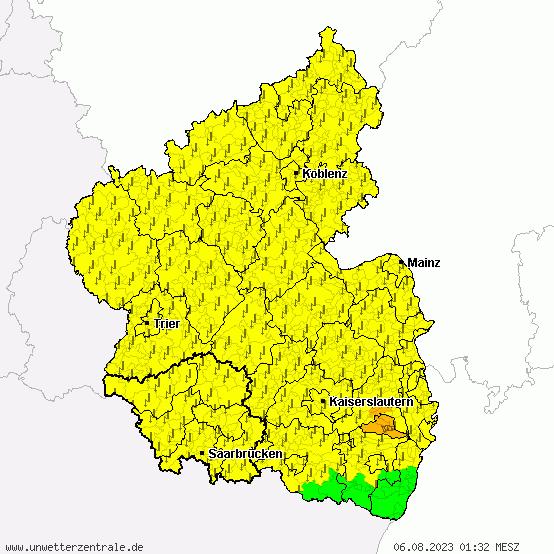 Aktuelle Unwetterwarnungen für Rheinland-Pfalz