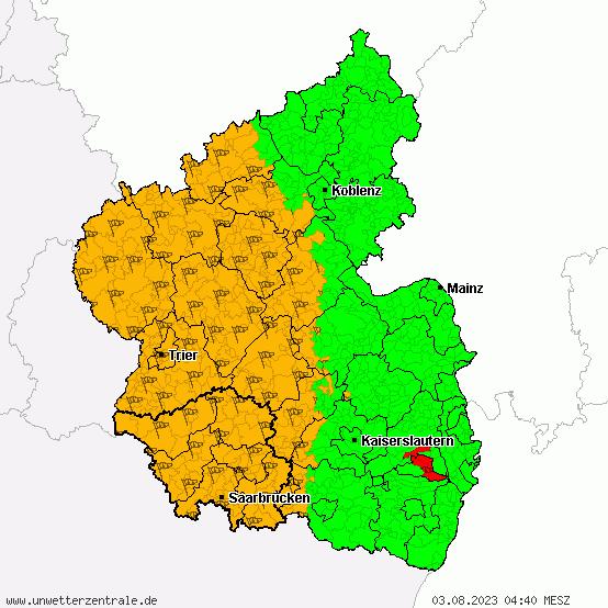 Unwetterwarnung Rheinland-Pfalz