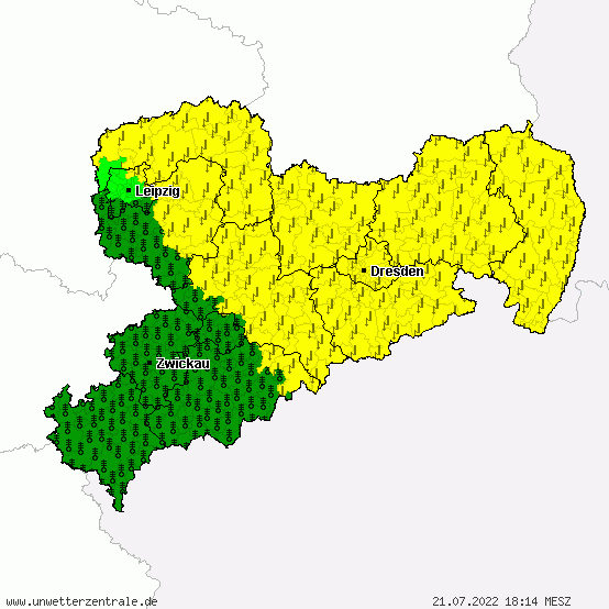 Aktuelle Unwetterwarnungen für Sachsen