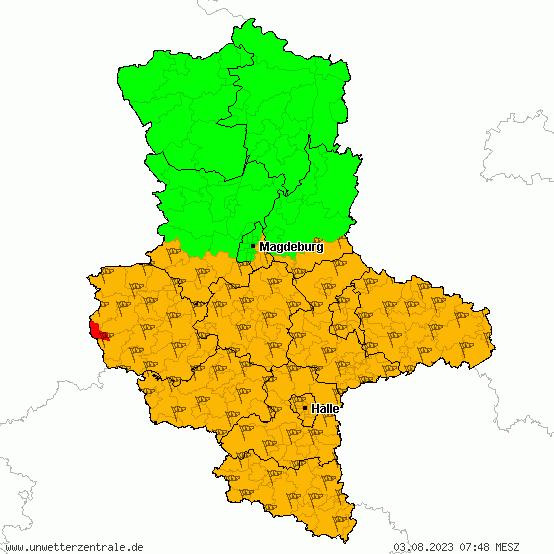 Aktuelle Unwetterwarnungen für Sachsen-Anhalt