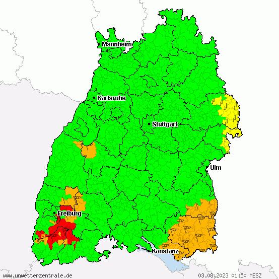 Unwetterwarnung für Baden-Württemberg, ausgegeben vom DWD