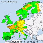 Allarmi meteo attuali per l'Europa