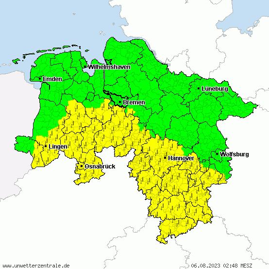 Wetterkarte Niedersachsen